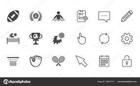 sport games fitness icons football golf and baseball signs swimming rugby and winner medal symbols chat report and calendar line signs