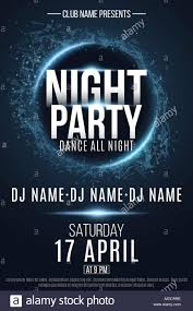 Night Party Flyer Festive Geometric Neon Flyer Banner From