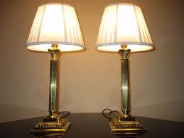 pair of vintage solid brass corinthian column table lamps with regarding column table lamp