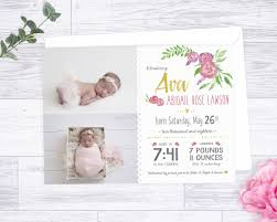 Babygirl Cards Baby Girl Birth Announcement Floral Baby Announcement Card