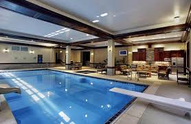 Custom indoor swimming pool with a diving board