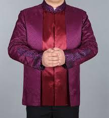 bjnc 16170 mens mandarin collar winter jacket purple silk brocade winter top for groom 004