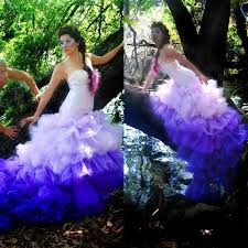 2015 gorgeous ombre purple mermaid wedding dresses fit and flare