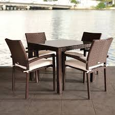 liberty 5 piece patio dining set with beige cushions