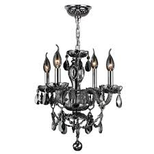 worldwide lighting provence 4 light polished chrome with smoke crystal chandelier