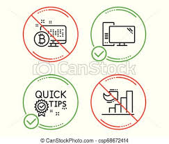 Quick Tips Computer And Bitcoin System Icons Set Growth Chart Sign Vector