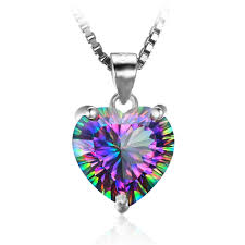 4 35ct genuine rainbow fire mystic topaz heart pendant solid 925 sterling silver necklace 45cm chain