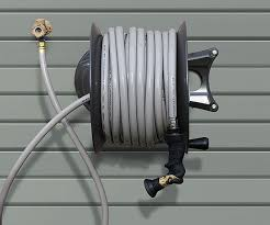hose reel mounted perpendicular to the wall