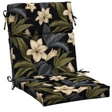 amazing high back patio chair cushions hampton bay black tro blossom outdoor dining cushion home remodel