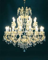 chandelier with pendants of swarovski crystal and case gold plated metal heritage kraus