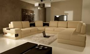 U Shaped Couch Living Room Furniture Interior Modern Living Room Wall Decor Features Beige U Shape