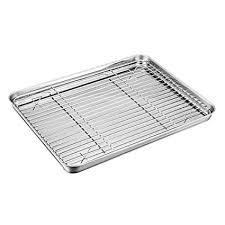Baking Tray with <b>Rack</b> Set, TeamFar <b>Stainless Steel Mini</b> Oven Tray ...