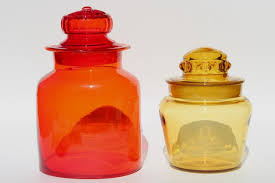 vintage red amber colored glass canister jars mod apothecary bottle candy canisters