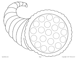 Free Thanksgiving Do A Dot Printables And Dot Art Painting Coloring