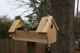 picture of cedar double bird house planter