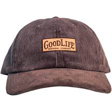grey corduroy curved bill hat with goodlife leather patch