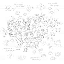 Kleurplaat Pagina Met Dierlijke Kaart Van Eurazië Voor Kinderen
