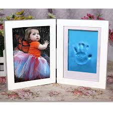 baby gift vintage picture frame diy handprint footprint air drying nontoxic clay wooden photo frame home