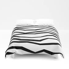 black white wavy zig zag stripes duvet cover