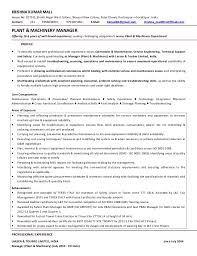 Sample Resume General Manager Mesmerizing CV Krishna MallManager Plant Equipment