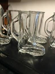 set of 5 vintage cowboy boot shaped shot glass w handle 3 tall free