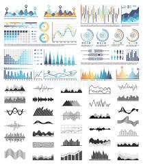 Graphics And Charts Black And White Templates Stock Vector