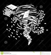Disegno In Bianco E Nero Di Un Tornado Distruttivo Che Disegna La