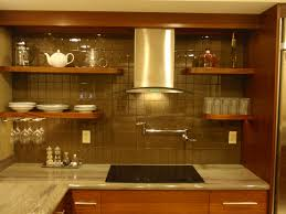Fresh Glass Subway Tile with Custom Chrome Kitchen Range Hood also Floating  Wooden Rack with White