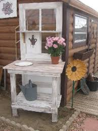 potting bench made from old doors plus multiple garden ideas on the rest of the site