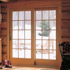 hand sliding patio door pine interior