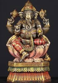 sold ganesha wood sitting statue 12