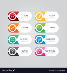 Button Design Modern Banner Button With Social Icon Design