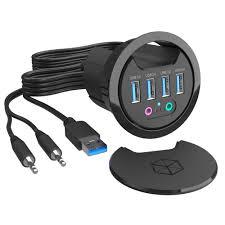 desk fit grommet usb 3 0 4 port hub with 3 5mm audio mic phone jack thc06