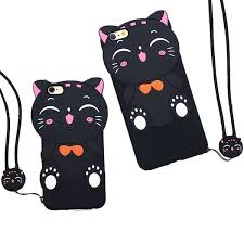 <b>New 3D Lucky Cat</b> Soft Silicon Rubber Case Cover With Lanyard ...