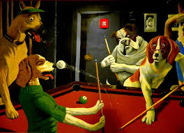 pool photograph dogs playing pool wall art unknown painter by kathy barney