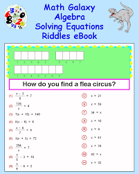 e book math galaxy algebra solving equations riddles