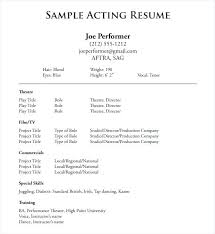 Resume Template Sample Sample Acting Resume Template Resume Samples