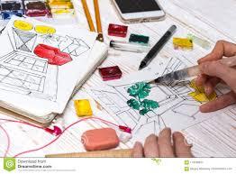 Interior Design Calculator Designer Makes A Sketch Of The Interior Stock Image Image