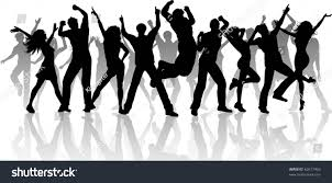 separate people. silhouette of a large group people dancing - each is separate and can be