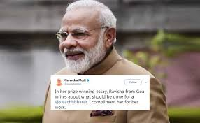 modi praises class ix student from goa for essay on swachh bharat  pm modi praises class ix student from goa for essay on swachh bharat