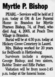 Myrtle Pearson Bishop obituary - Newspapers.com