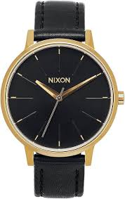 nixon the kensington leather watch gold black