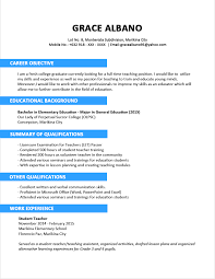 Sample Resume Format For Fresh Graduates Example Of Curriculum