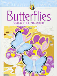 Creative Haven Floral Design Color By Number Coloring Book Amazon Com Creative Haven Butterflies Color By Number