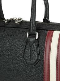 staz black grained leather briefcase bally