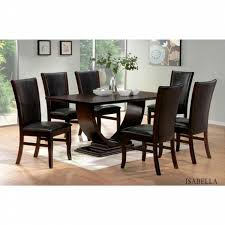 dining table chairs leather. casa blanca 7 pc isabella collection espresso finish wood pedestal dining table set with leather like chairs e