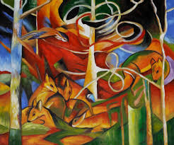 deer in the forest franz marc painting reion franz marc