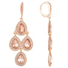 akara 039 s rose goldtone pink rhinestone chandelier earrings