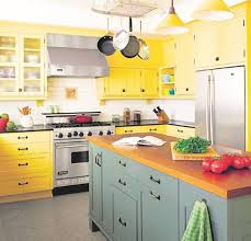Light Yellow Kitchen Yellow Cabinets And Drawers Gray Painted Wall With Ceramic Tile