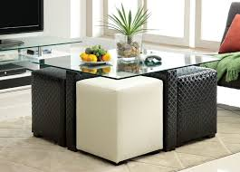 ruti black amp white padded leather glass top coffee table